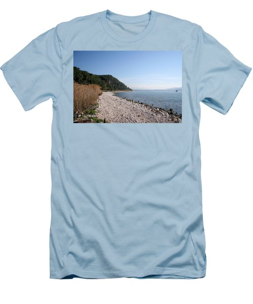 Men's T-Shirt (Slim Fit) featuring the photograph Pebbled Beach by Tracey Harrington-Simpson