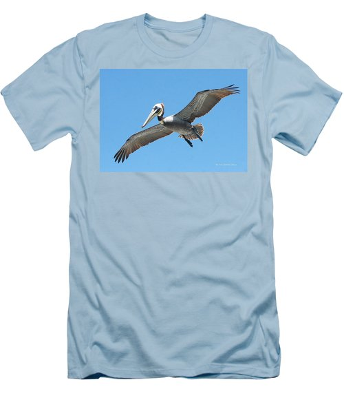 Men's T-Shirt (Slim Fit) featuring the photograph Pelican Landing On  Pier by Tom Janca