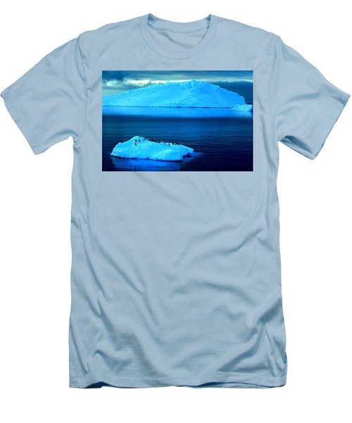 Penguins On Iceberg Men's T-Shirt (Slim Fit) by Amanda Stadther