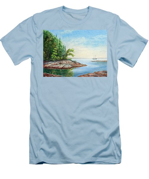 Men's T-Shirt (Slim Fit) featuring the painting Penobscot Inlet by Roger Rockefeller
