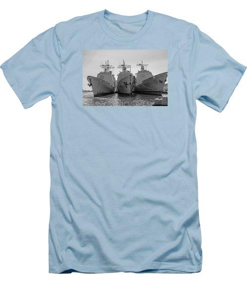 Philadelphia Navy Yard B - W  Men's T-Shirt (Slim Fit) by Susan  McMenamin