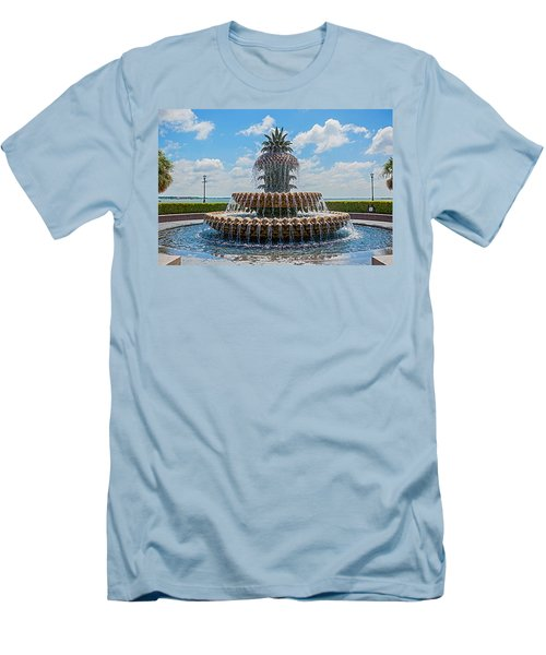 Men's T-Shirt (Slim Fit) featuring the photograph Pineapple Fountain by Sennie Pierson