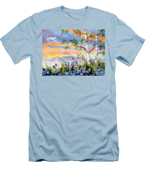 Men's T-Shirt (Slim Fit) featuring the painting Piper Cub Over Sleeping Lady by Teresa Ascone
