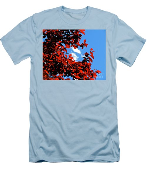 Plum Tree Cloudy Blue Sky 1 Men's T-Shirt (Slim Fit) by CML Brown