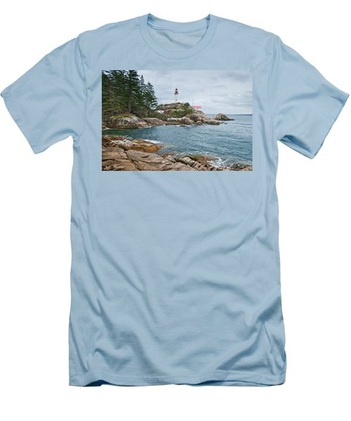 Point Atkinson Lighthouse And Rocky Shore Men's T-Shirt (Slim Fit) by Jeff Goulden