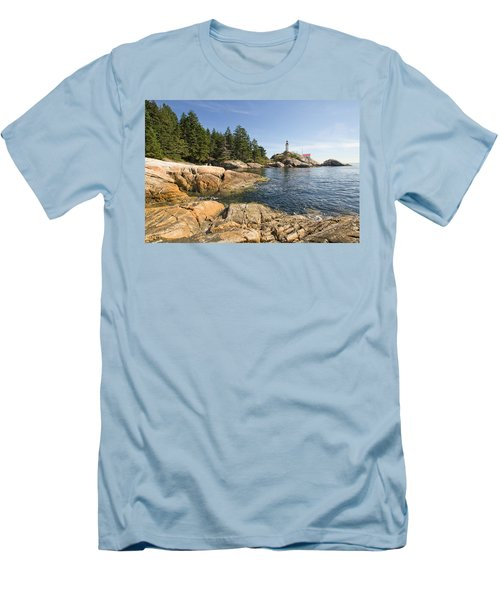 Men's T-Shirt (Slim Fit) featuring the photograph Point Atkinson Lighthouse In Vancouver Bc by JPLDesigns