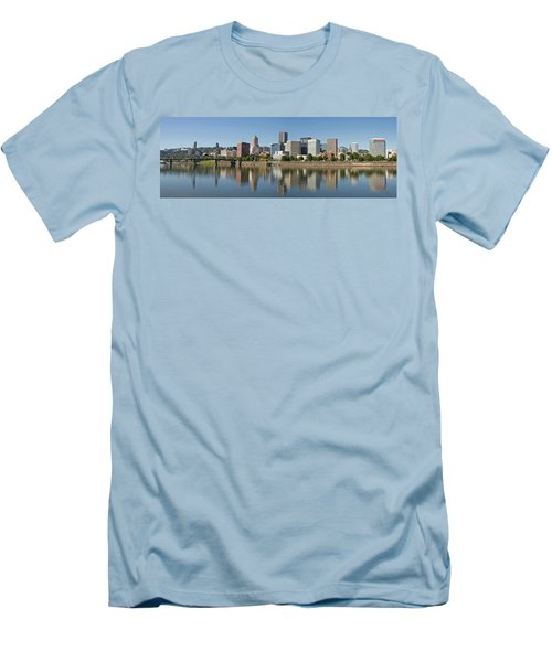 Men's T-Shirt (Slim Fit) featuring the photograph Portland Downtown Waterfront Skyline Panorama by JPLDesigns