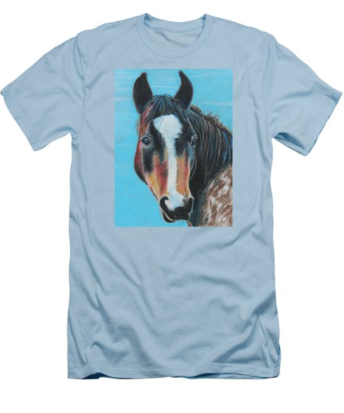 Men's T-Shirt (Slim Fit) featuring the painting Portrait Of A Wild Horse by Jeanne Fischer