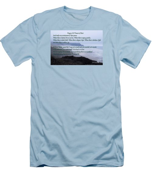 Prayer Of St Francis Of Assisi Men's T-Shirt (Slim Fit) by Sharon Elliott