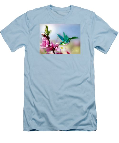 Men's T-Shirt (Slim Fit) featuring the mixed media Pretty Hummingbird by Morag Bates