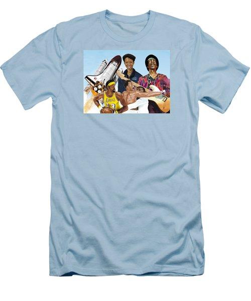 Men's T-Shirt (Athletic Fit) featuring the digital art Jimi, Muhammad Ali, Wilt Chamberlain And Mae Carol Jemison by Thomas J Herring
