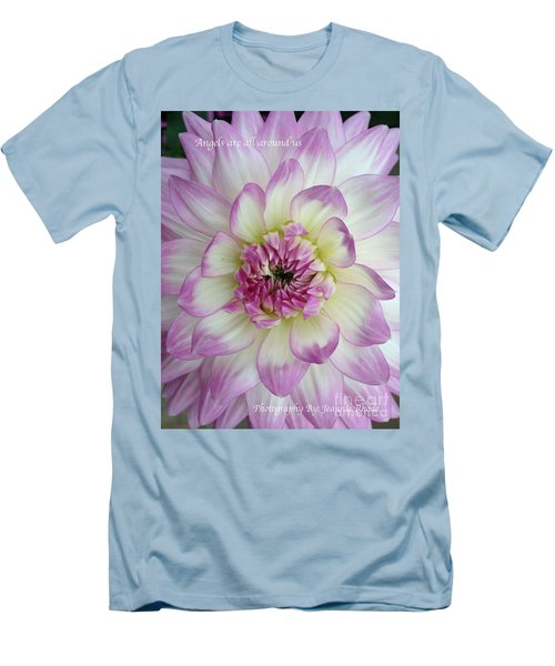 Men's T-Shirt (Slim Fit) featuring the photograph Purple And Cream Dahlia by Jeannie Rhode