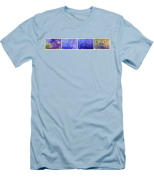 Men's T-Shirt (Slim Fit) featuring the photograph Quadryptich Of Colorful Water Bubbles by Peter v Quenter