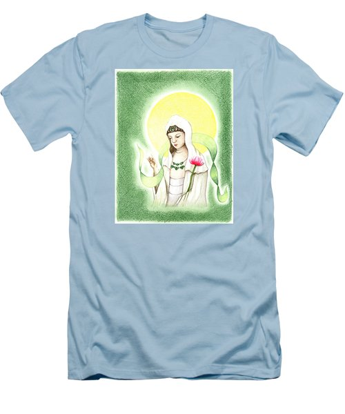Men's T-Shirt (Slim Fit) featuring the drawing Quan Yin by Keiko Katsuta