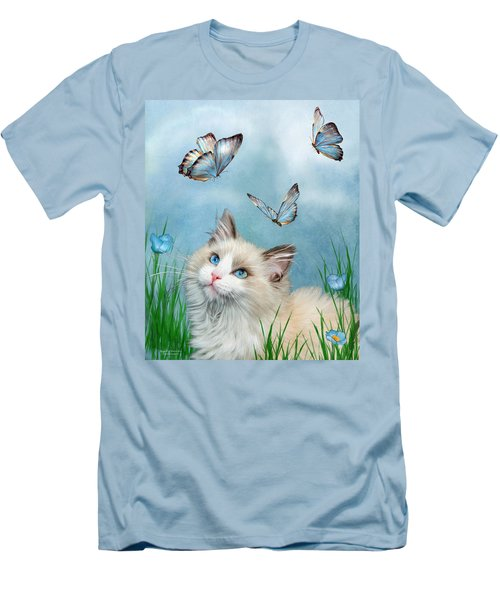 Men's T-Shirt (Athletic Fit) featuring the mixed media Ragdoll Kitty And Butterflies by Carol Cavalaris