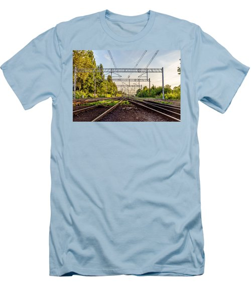 Railway To Nowhere Men's T-Shirt (Slim Fit) by Tgchan