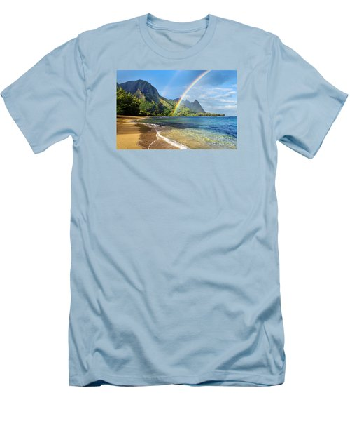 Rainbow Over Haena Beach Men's T-Shirt (Slim Fit) by M Swiet Productions