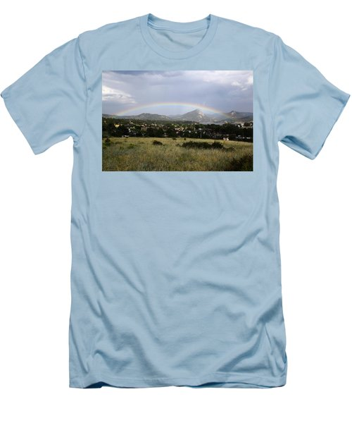 Rainbow Over Lake Estes Men's T-Shirt (Athletic Fit)