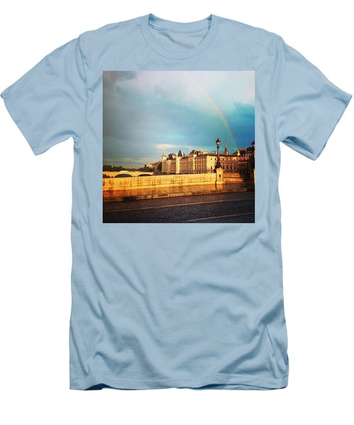 Rainbow Over The Seine. Men's T-Shirt (Slim Fit) by Allan Piper