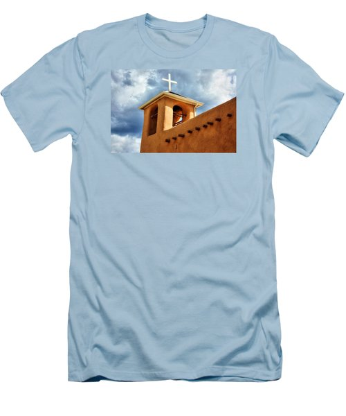 Men's T-Shirt (Slim Fit) featuring the photograph Rancho De Taos Bell Tower And Cross by Lanita Williams