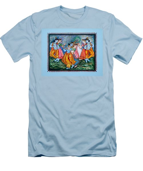 Men's T-Shirt (Slim Fit) featuring the painting Ras Leela by Harsh Malik