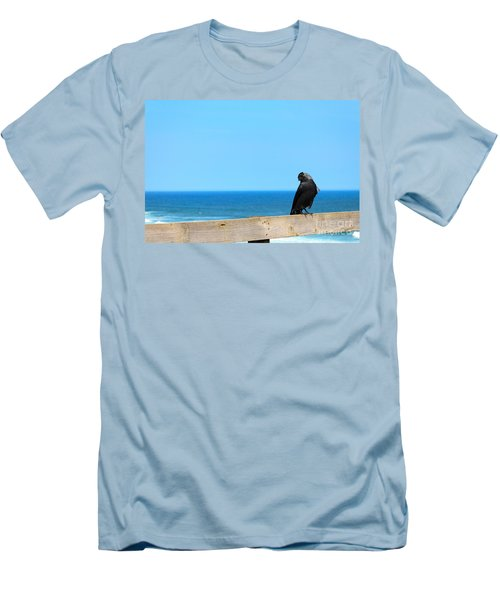 Men's T-Shirt (Slim Fit) featuring the photograph Raven Watching by Peta Thames