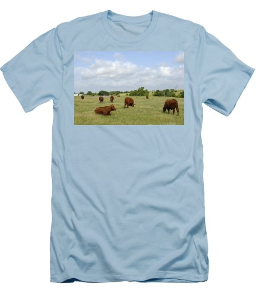 Men's T-Shirt (Slim Fit) featuring the photograph Red Angus Cattle by Charles Beeler