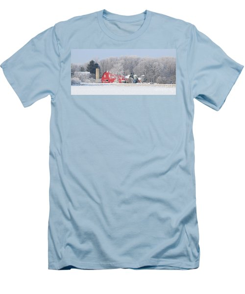 Red Barn Frosty Morning Panorama1 Men's T-Shirt (Slim Fit) by Jack Schultz