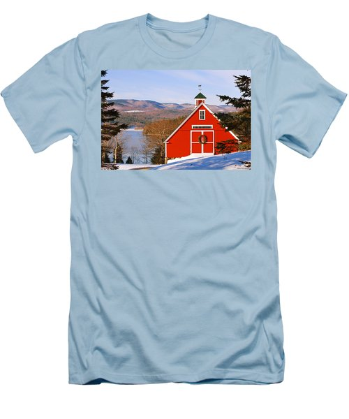 Red Barn On Newfound Lake Men's T-Shirt (Athletic Fit)