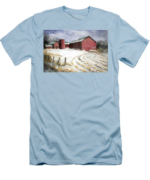 Men's T-Shirt (Slim Fit) featuring the painting Red Barn On Rt. 49 by Roger Rockefeller