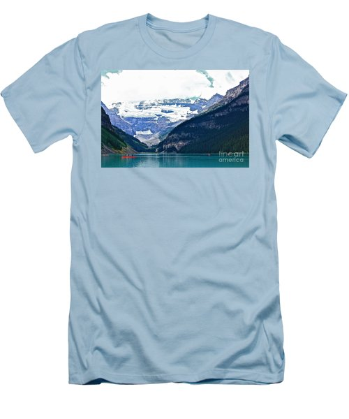 Red Canoes Turquoise Water Men's T-Shirt (Slim Fit) by Linda Bianic