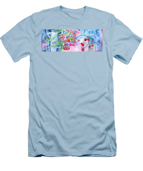 Red Cherries And Sweet William Men's T-Shirt (Slim Fit) by Trudi Doyle