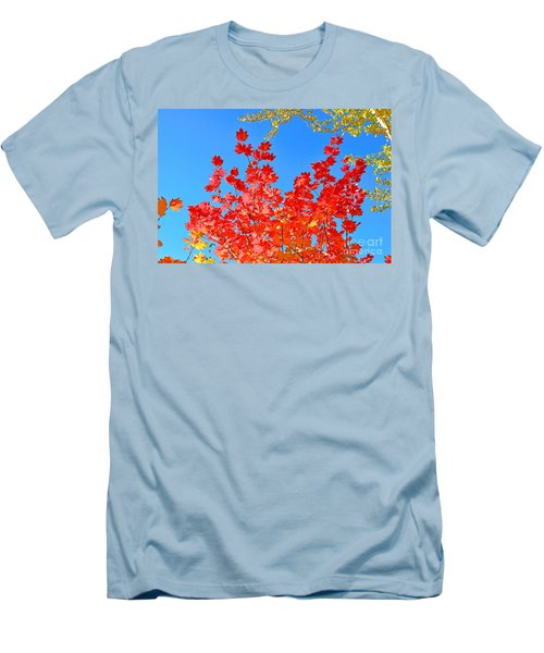 Men's T-Shirt (Slim Fit) featuring the photograph Red Leaves by David Lawson