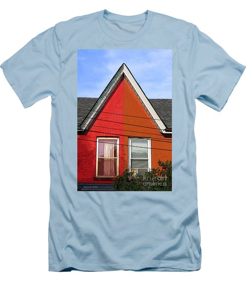 Men's T-Shirt (Slim Fit) featuring the photograph Red-orange House by Nina Silver