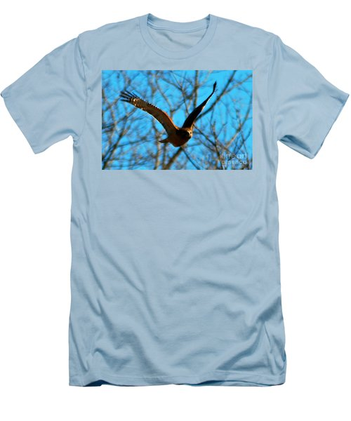 Men's T-Shirt (Slim Fit) featuring the photograph Red Tail Hawk In Flight by Peggy Franz