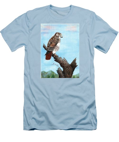 Men's T-Shirt (Slim Fit) featuring the painting Red Tailed Hawk by VLee Watson
