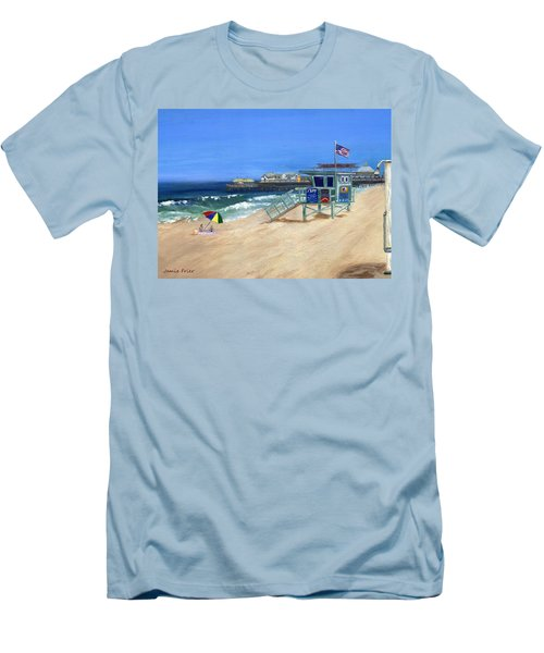 Men's T-Shirt (Slim Fit) featuring the painting Redondo Beach Lifeguard  by Jamie Frier