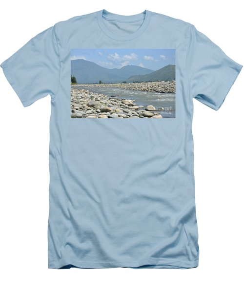 Riverbank Water Rocks Mountains And A Horseman Swat Valley Pakistan Men's T-Shirt (Slim Fit) by Imran Ahmed
