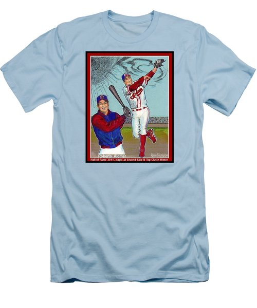 Men's T-Shirt (Slim Fit) featuring the mixed media Roberto Alomar Hall Of Fame by Ray Tapajna