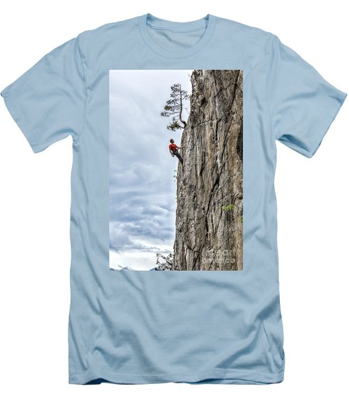 Men's T-Shirt (Slim Fit) featuring the photograph Rock Climber by Carsten Reisinger