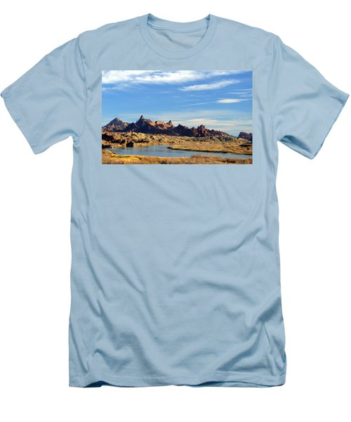 Route 66 Needles Mtn Range Two  Sold Men's T-Shirt (Slim Fit) by Antonia Citrino