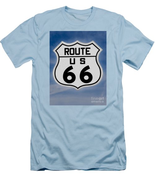 Route 66 Road Sign Men's T-Shirt (Slim Fit) by Gary Warnimont