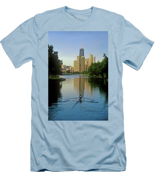 Rower On Chicago River With Skyline Men's T-Shirt (Athletic Fit)