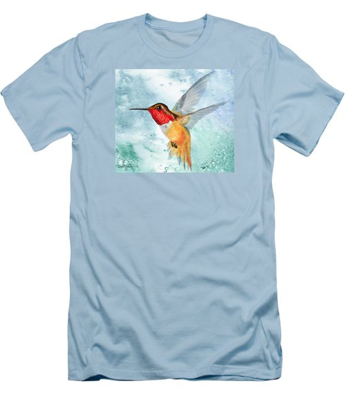 Da199 Rufous Humming Bird By Daniel Adams Men's T-Shirt (Athletic Fit)