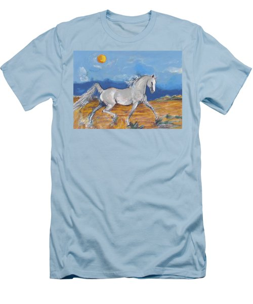 Men's T-Shirt (Slim Fit) featuring the digital art Running Horse M by Mary Armstrong