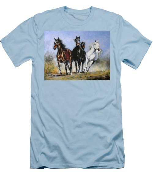 Running Horses Men's T-Shirt (Athletic Fit)
