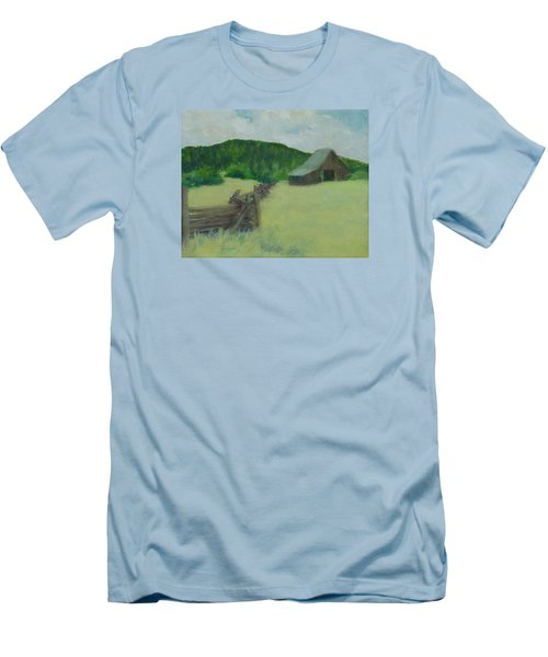 Rural Landscape Colorful Oil Painting Barn Fence Men's T-Shirt (Athletic Fit)