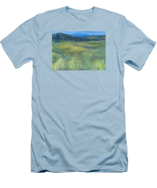 Rural Valley Landscape Colorful Original Painting Washington State Water Mountains K. Joann Russell Men's T-Shirt (Slim Fit) by Elizabeth Sawyer