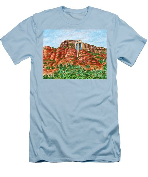 Men's T-Shirt (Slim Fit) featuring the painting Sadona Church by Val Miller