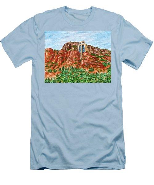 Sadona Church Men's T-Shirt (Slim Fit) by Val Miller